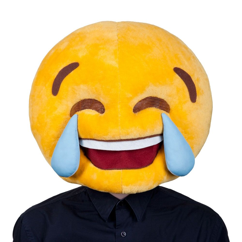 emoji cry laughing mask for adults mh1285   emoji cry laughing mask