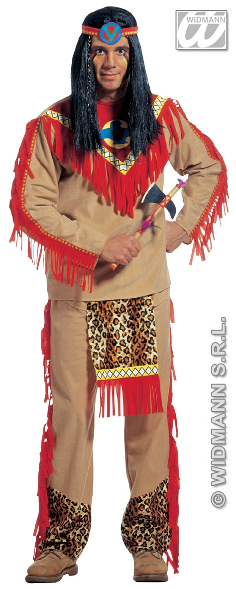 Sitting bull red indian costume includes fringed tunic top elasticated