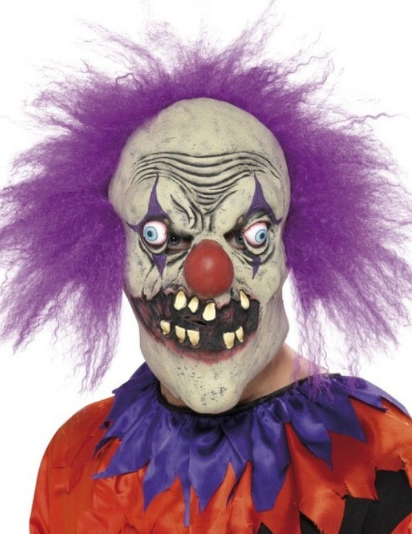 Evil Clown Halloween Maskevil clown halloween mask scary teeth purple hair adult size  sc 1 st  Flagship Fancy Dress & Evil Clown Halloween Maskevil clown halloween mask scary teeth ...