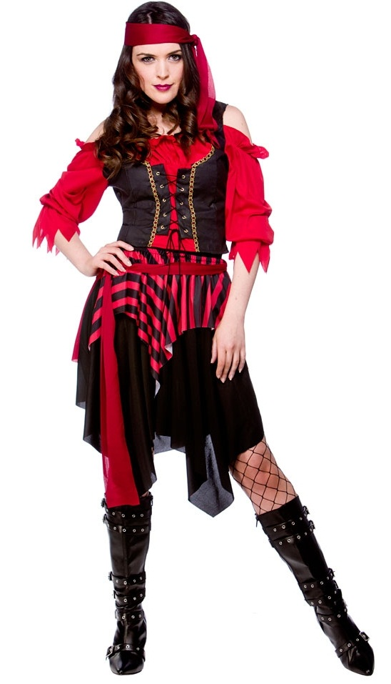Shipwrecked Pirate Costume Ladies Pirate Fancy Dress Costume