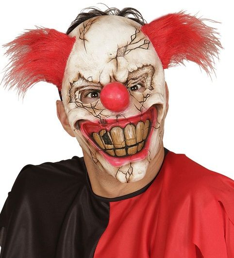 Smiling Killer Clown Face Mask with Hair 00840 - Halloween ...